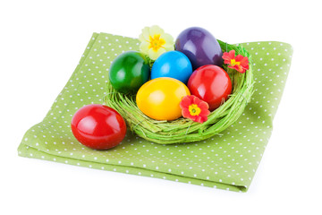 Easter Eggs in natural straw nest