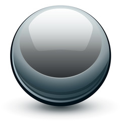 Vector metallic chrome sphere, metal glossy ball.