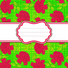 Green seamless background hand drawn peony flower.Vector
