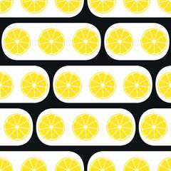 Lemons slices with black modern ornament