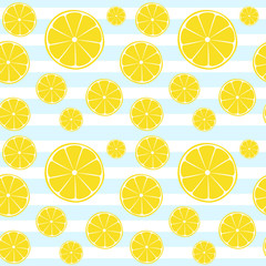 Lemons slices blue white striped seamless pattern