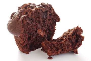 Chocolate chip muffin on white background