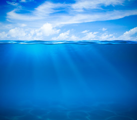 Sea or ocean water surface and underwater