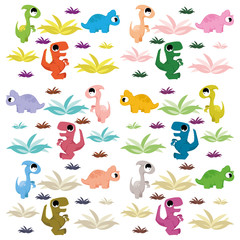A Vector Cartoon Cute And Colorful Group Of Dinosaurs