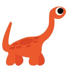 A Vector Cute Cartoon Orange Dinosaur Isolated