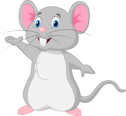 Cute mouse cartoon waving
