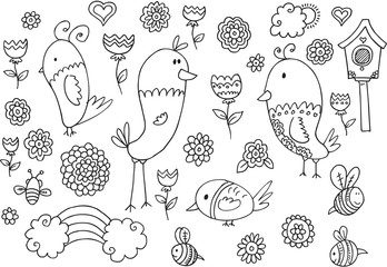 Spring Summer Bird Flower Vector Doodle Set