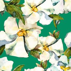 White flowers seamless pattern