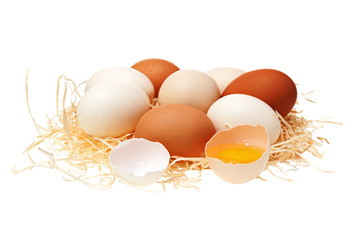 Eggs in a straw nest.