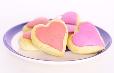 Valentines day cookies decorated with fondant