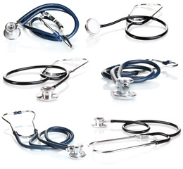 Collage of medical stethoscope isolated on white