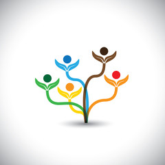 eco vector icon - family tree and teamwork concept.
