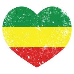 Rasta, Rastafarian retro heart shaped flag