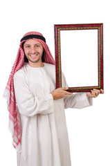 Arab with picture frame on white