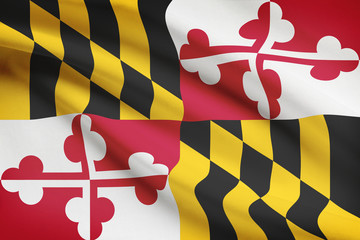 Series of ruffled flags of US states. State of Maryland.