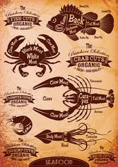 vector diagram cut carcasses seafood