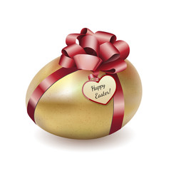 Easter gold egg with greeting card