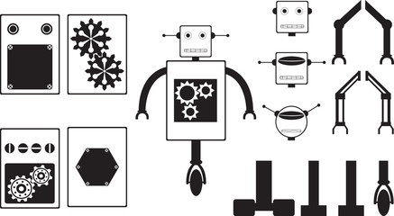 Robot parts illustrated on white