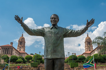 Photo on textile frame South Africa Statue of Nelson Mandela in Pretoria, South Africa