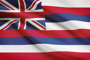 Series of ruffled flags of US states. State of Hawaii.