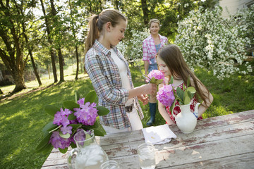 Three People Gathering Flowers And Arranging Them Together. A Mature Woman, A Teenager And A Child.