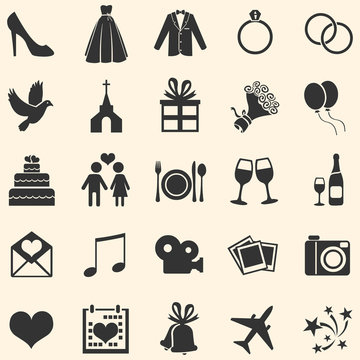 Vector Set of 25  Wedding Icons