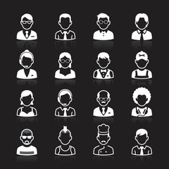 Business people avatar white icons on black background. Vector i