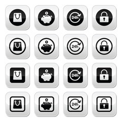 Shopping buttons set - account, save, 24h, shopping bag