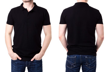 Black polo shirt on a young man template