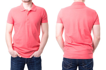 Pink polo shirt on a young man template