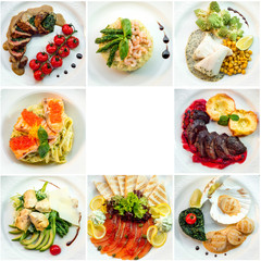 eight different restaurant dishes top view with place for text