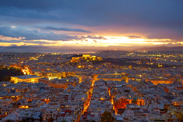Photo sur Aluminium Athenes Athens, Greece. After sunset.