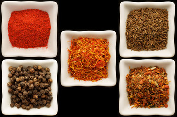 Spices in a ceramic bowls. Collage.