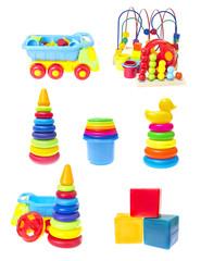 Children's Toys Set Isolated on White Background