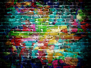 Photo sur Aluminium Graffiti graffiti brick wall