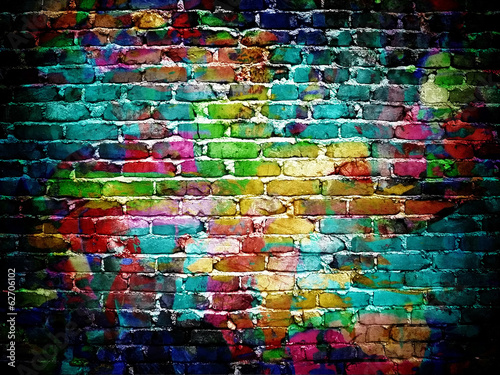 Fototapete graffiti brick wall