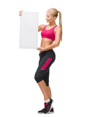 sportswoman with white blank board