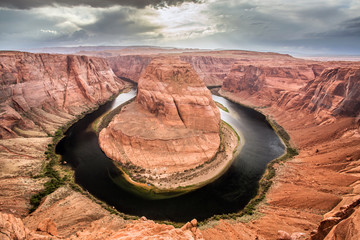Horse shoe shaped bend in the Colorado river near Page, Arizona.
