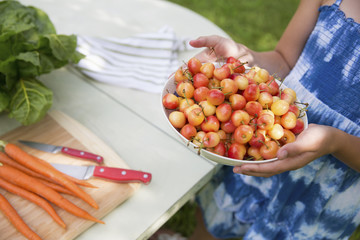 Family Party. A Child Carrying A Bowl Of Fresh Picked Cherries To A Buffet Table.