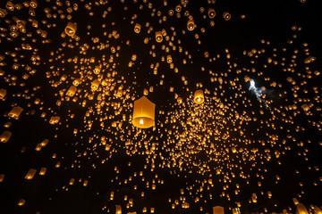 Loi Krathong and Yi Peng Festival , Chiangmai, Thailand