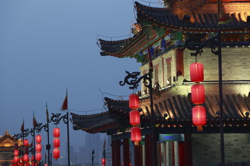 Spoed Foto op Canvas Xian night scene at xian city wall,china