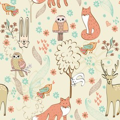 vector cute children seamless pattern with animals