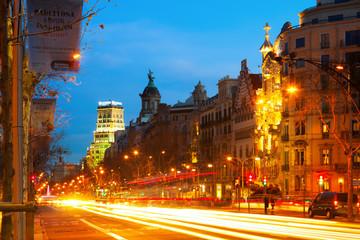 Passeig de Gracia in winter night at Barcelona