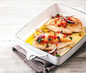 Healthy roasted or barbecued chicken breasts