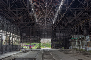 Industrial interior of a old train repair station