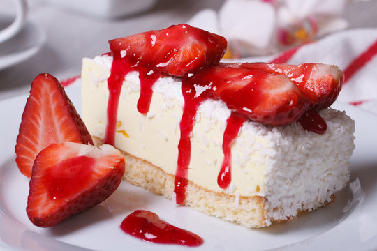 delicate strawberry cheesecake with coconut closeup