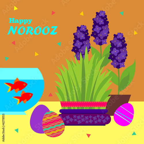 Happy Norooz  Persian New Year Greeting Card Template Stock