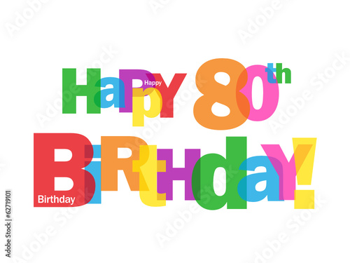 HAPPY 80TH BIRTHDAY CARD Eighty Party Celebration Congrats