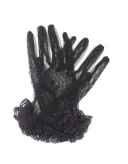 black gloves with lace on white background