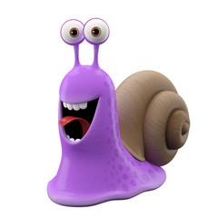3d funny character, happy cartoon snail
